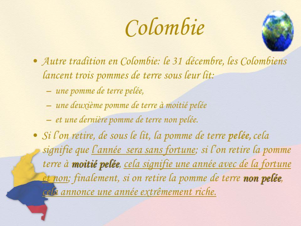 Autre tradition en Colombie: le 31 décembre, les Colombiens lancent trois pommes de terre sous leur lit: –une pomme de terre pelée, –une deuxième pomme de terre à moitié pelée –et une dernière pomme de terre non pelée.