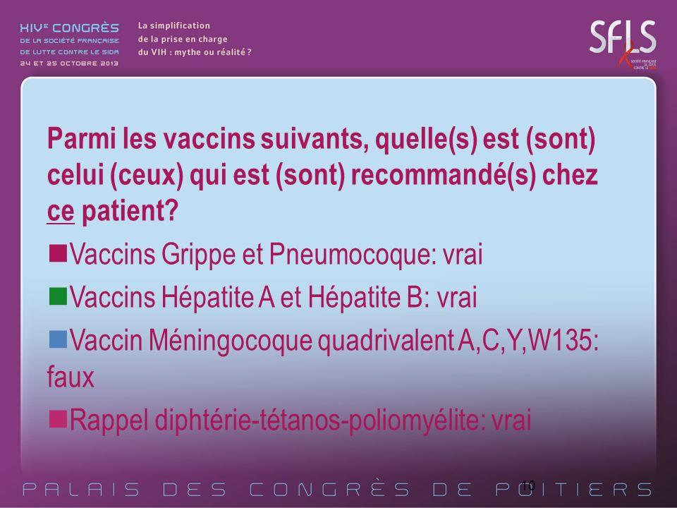 10 Parmi les vaccins suivants, quelle(s) est (sont) celui (ceux) qui est (sont) recommandé(s) chez ce patient? Vaccins Grippe et Pneumocoque: vrai Vac