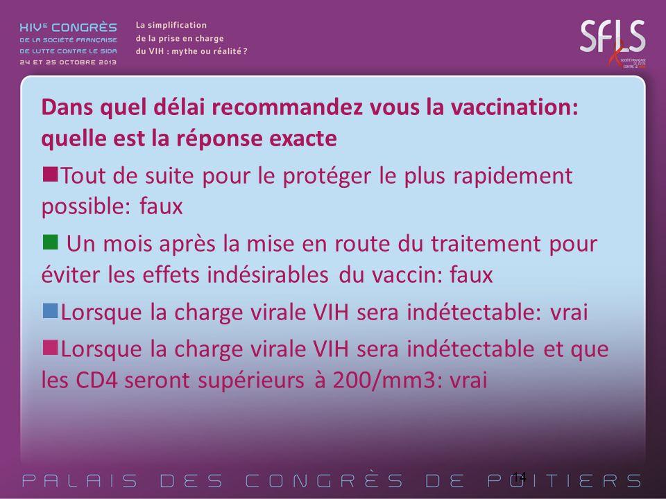 14 Dans quel délai recommandez vous la vaccination: quelle est la réponse exacte Tout de suite pour le protéger le plus rapidement possible: faux Un m