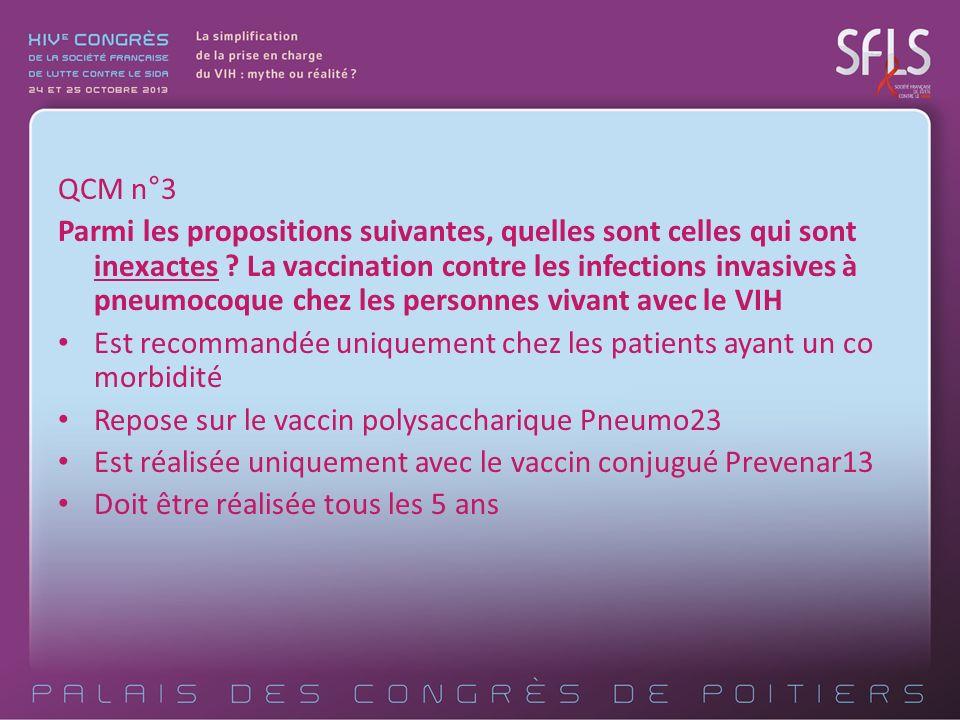 QCM n°3 Parmi les propositions suivantes, quelles sont celles qui sont inexactes ? La vaccination contre les infections invasives à pneumocoque chez l