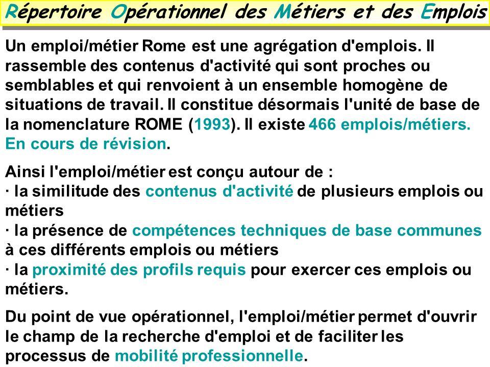 Répertoire Opérationnel des Métiers et des Emplois Un emploi/métier Rome est une agrégation d'emplois. Il rassemble des contenus d'activité qui sont p