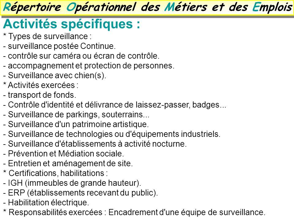 Activités spécifiques : * Types de surveillance : - surveillance postée Continue. - contrôle sur caméra ou écran de contrôle. - accompagnement et prot