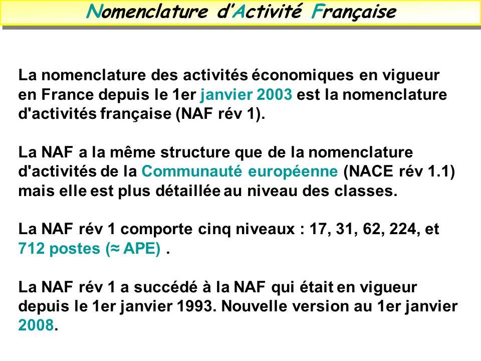 Nomenclature dActivité Française La nomenclature des activités économiques en vigueur en France depuis le 1er janvier 2003 est la nomenclature d'activ