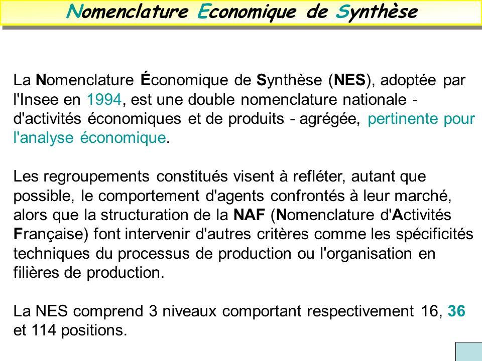La Nomenclature Économique de Synthèse (NES), adoptée par l'Insee en 1994, est une double nomenclature nationale - d'activités économiques et de produ