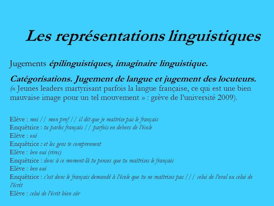 Les représentations linguistiques Jugements épilinguistiques, imaginaire linguistique. Catégorisations. Jugement de langue et jugement des locuteurs.