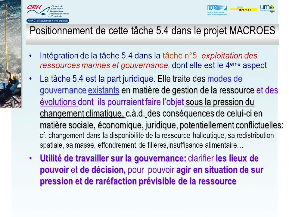 Positionnement de cette tâche 5.4 dans le projet MACROES Intégration de la tâche 5.4 dans la tâche n°5 exploitation des ressources marines et gouverna