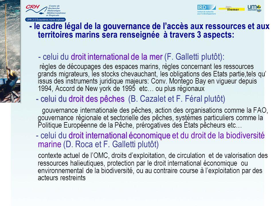 gouvernance de laccès - le cadre légal de la gouvernance de laccès aux ressources et aux territoires marins sera renseignée à travers 3 aspects: droit international de la mer - celui du droit international de la mer (F.