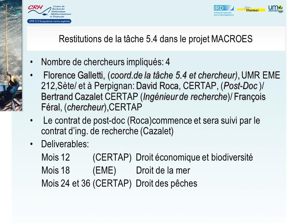 Restitutions de la tâche 5.4 dans le projet MACROES Nombre de chercheurs impliqués: 4 Florence Galletti, coord.de la tâche 5.4 et chercheur, David Roc
