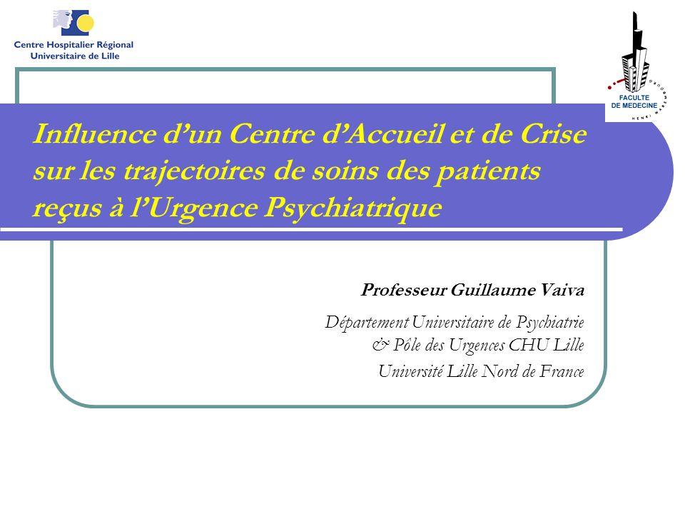Influence dun Centre dAccueil et de Crise sur les trajectoires de soins des patients reçus à lUrgence Psychiatrique Professeur Guillaume Vaiva Départe