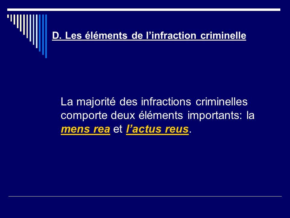 D. Les éléments de linfraction criminelle La majorité des infractions criminelles comporte deux éléments importants: la mens rea et lactus reus.