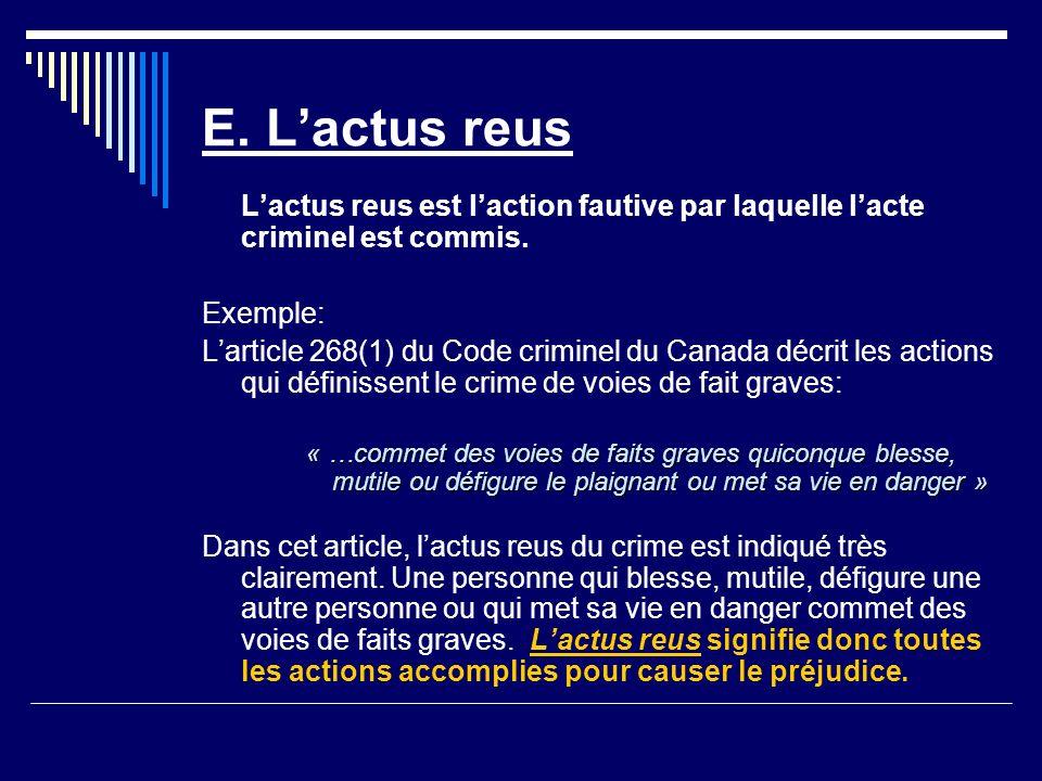 E.Lactus reus Lactus reus est laction fautive par laquelle lacte criminel est commis.