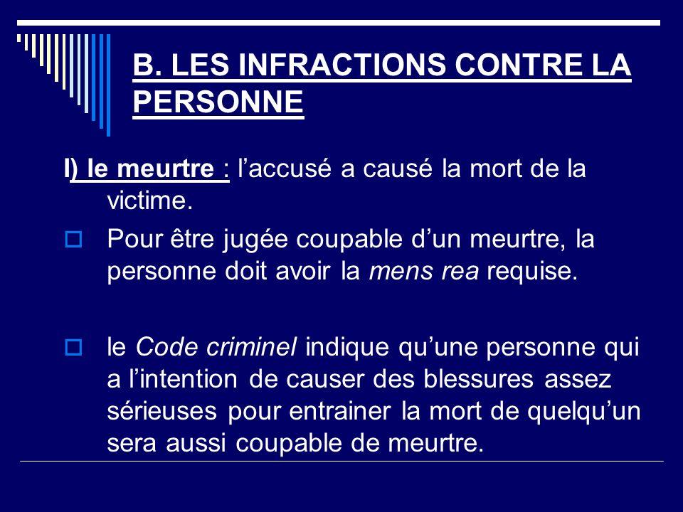 B.LES INFRACTIONS CONTRE LA PERSONNE I) le meurtre : laccusé a causé la mort de la victime.