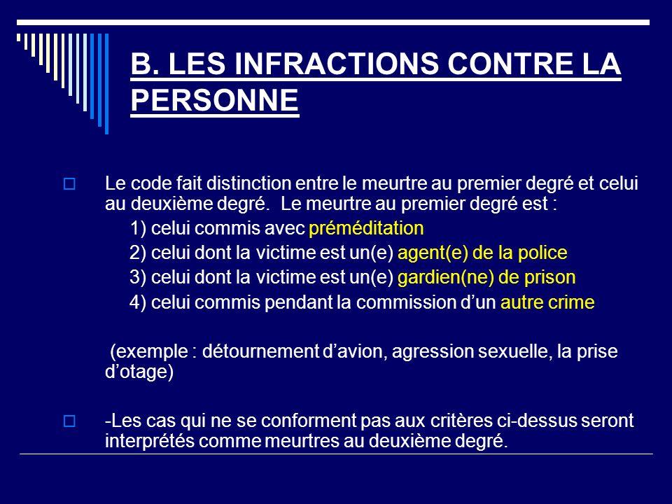 B. LES INFRACTIONS CONTRE LA PERSONNE Le code fait distinction entre le meurtre au premier degré et celui au deuxième degré. Le meurtre au premier deg