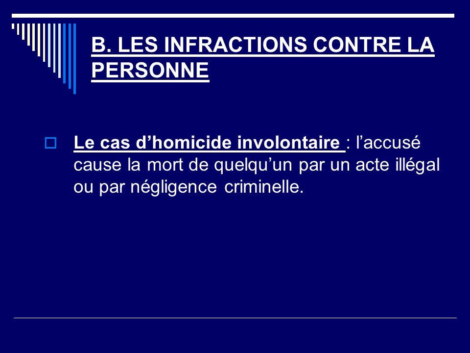 B. LES INFRACTIONS CONTRE LA PERSONNE Le cas dhomicide involontaire : laccusé cause la mort de quelquun par un acte illégal ou par négligence criminel