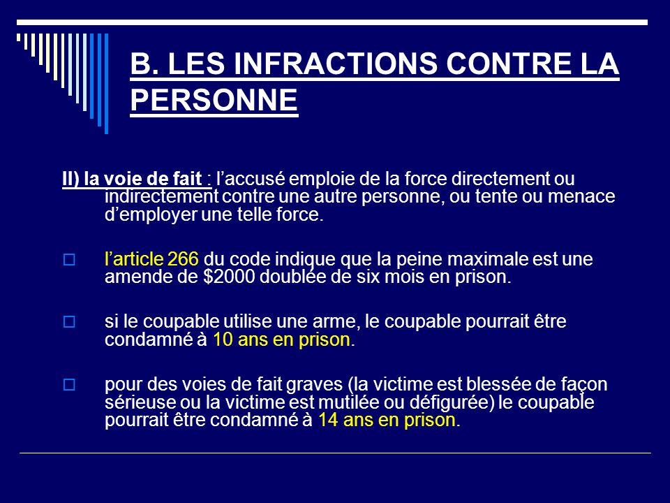 B. LES INFRACTIONS CONTRE LA PERSONNE II) la voie de fait : laccusé emploie de la force directement ou indirectement contre une autre personne, ou ten
