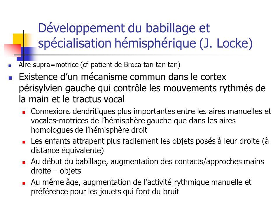 Développement du babillage et spécialisation hémisphérique (J.