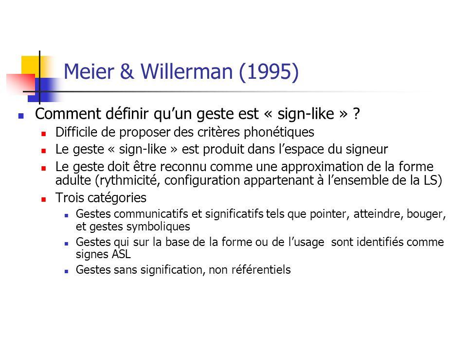 Meier & Willerman (1995) Comment définir quun geste est « sign-like » .