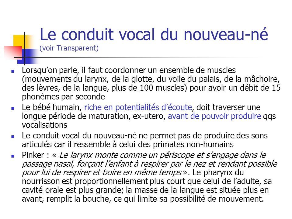 Le conduit vocal du nouveau-né (voir Transparent) Lorsquon parle, il faut coordonner un ensemble de muscles (mouvements du larynx, de la glotte, du voile du palais, de la mâchoire, des lèvres, de la langue, plus de 100 muscles) pour avoir un débit de 15 phonèmes par seconde Le bébé humain, riche en potentialités découte, doit traverser une longue période de maturation, ex-utero, avant de pouvoir produire qqs vocalisations Le conduit vocal du nouveau-né ne permet pas de produire des sons articulés car il ressemble à celui des primates non-humains Pinker : « Le larynx monte comme un périscope et sengage dans le passage nasal, forçant lenfant à respirer par le nez et rendant possible pour lui de respirer et boire en même temps ».