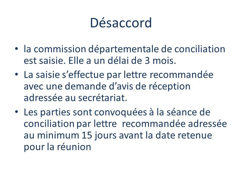 Désaccord la commission départementale de conciliation est saisie.