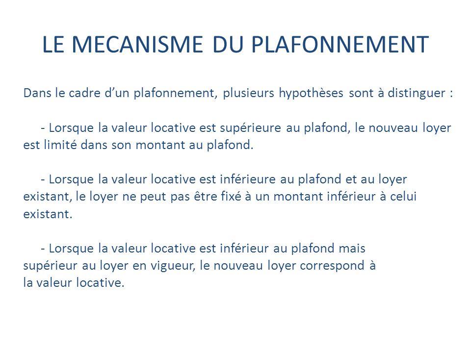 LE MECANISME DU PLAFONNEMENT Dans le cadre dun plafonnement, plusieurs hypothèses sont à distinguer : - Lorsque la valeur locative est supérieure au plafond, le nouveau loyer est limité dans son montant au plafond.