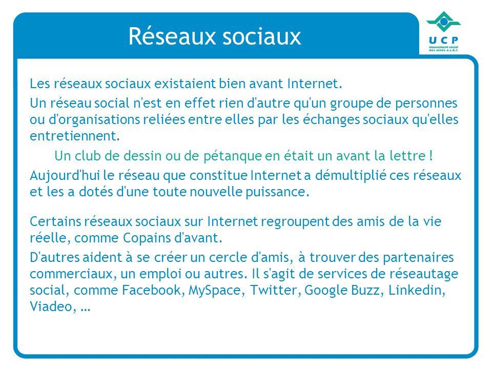 Réseaux sociaux Les réseaux sociaux existaient bien avant Internet.