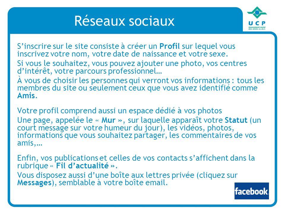 Réseaux sociaux Sinscrire sur le site consiste à créer un Profil sur lequel vous inscrivez votre nom, votre date de naissance et votre sexe.