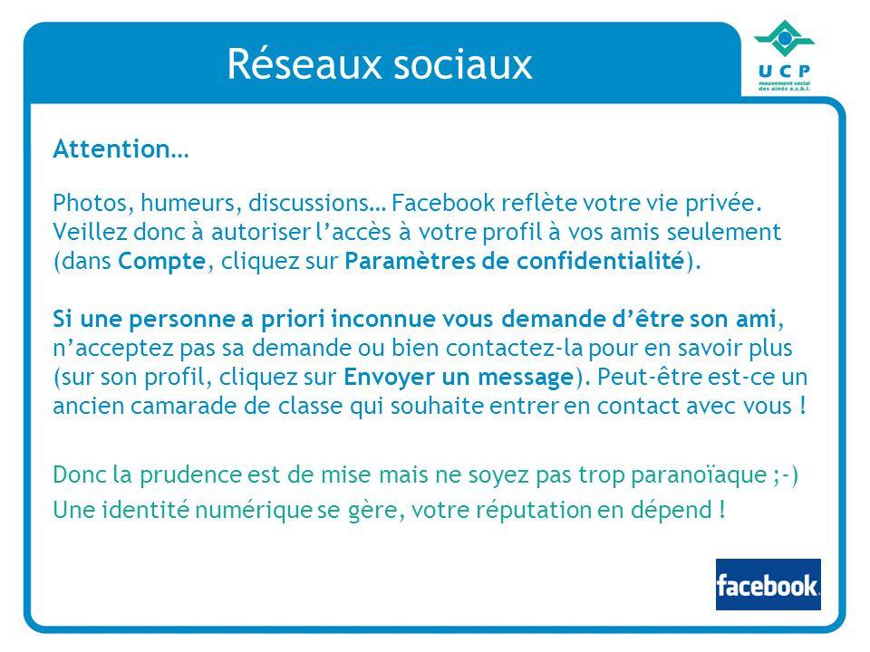 Réseaux sociaux Attention… Photos, humeurs, discussions… Facebook reflète votre vie privée. Veillez donc à autoriser laccès à votre profil à vos amis