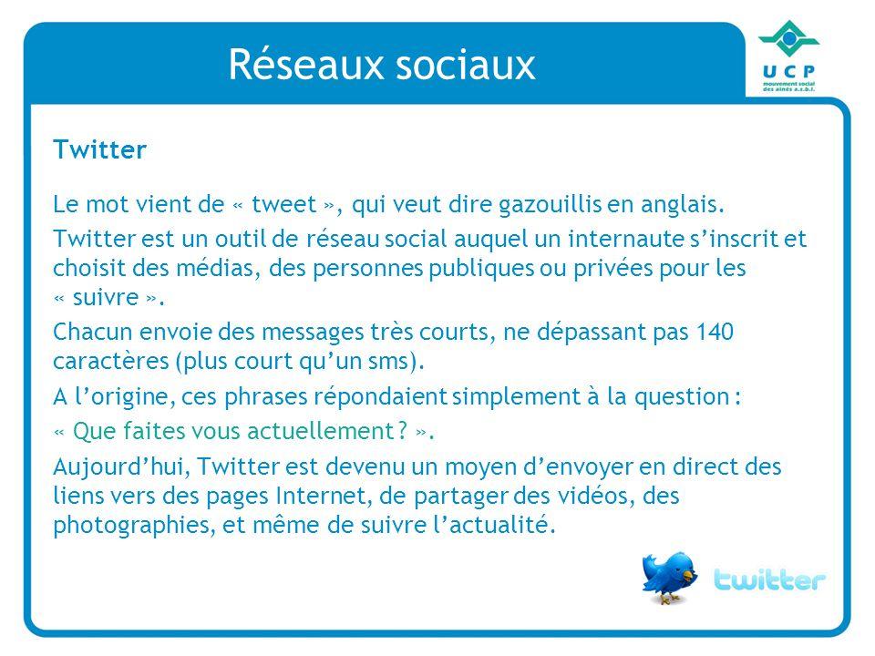 Réseaux sociaux Twitter Le mot vient de « tweet », qui veut dire gazouillis en anglais. Twitter est un outil de réseau social auquel un internaute sin