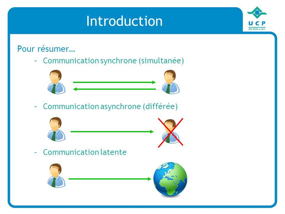 Pour résumer… –Communication synchrone (simultanée) –Communication asynchrone (différée) –Communication latente