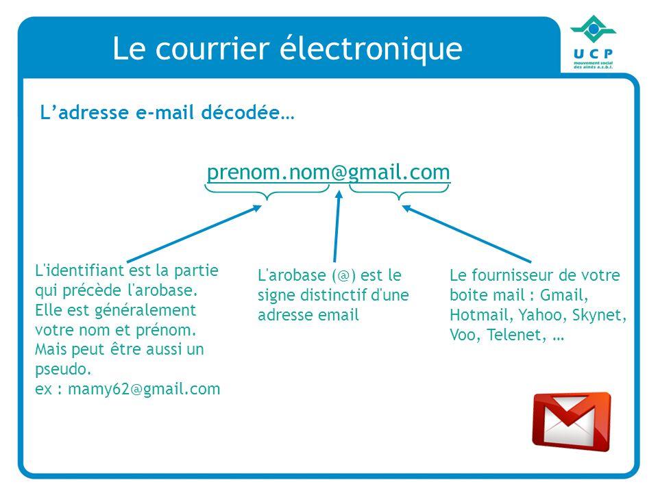 Le courrier électronique Ladresse e-mail décodée… prenom.nom@gmail.com L identifiant est la partie qui précède l arobase.