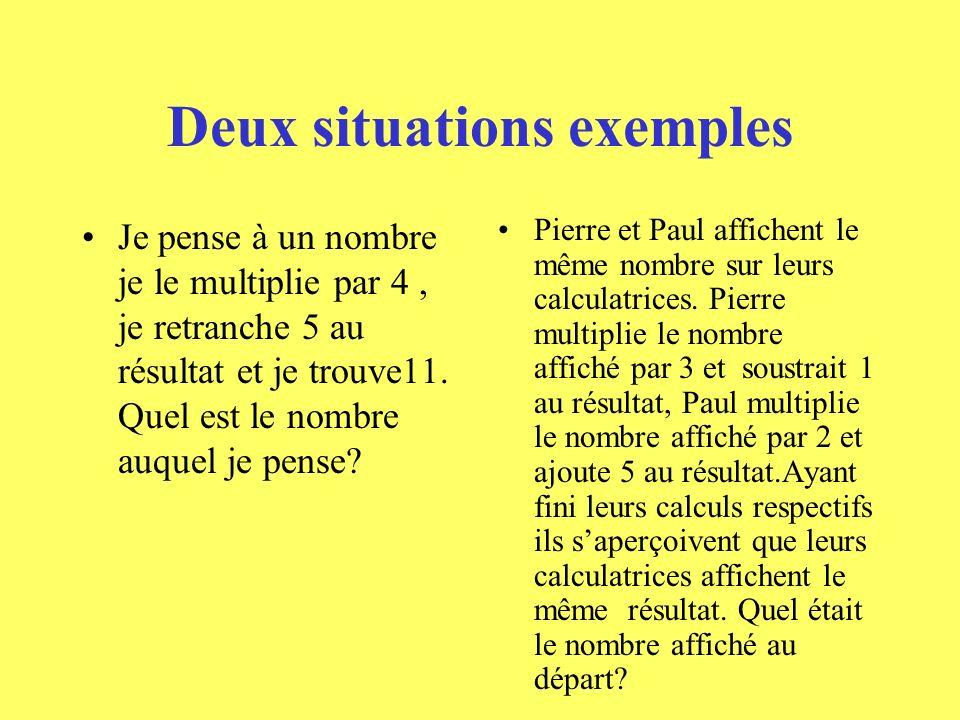Deux situations exemples Je pense à un nombre je le multiplie par 4, je retranche 5 au résultat et je trouve11.