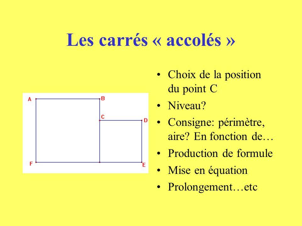 Les carrés « accolés » Choix de la position du point C Niveau.