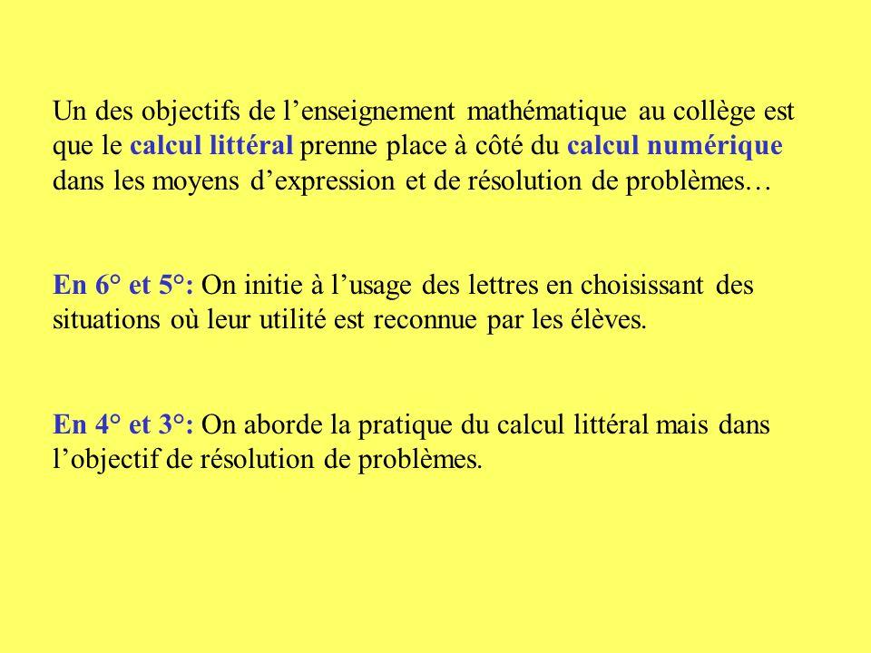 Atelier : du numérique au littéral Dans les programmes du cycle central, quels sont les points qui permettent des démonstrations dans le cadre algébrique: à quel moment, avec quels outils.