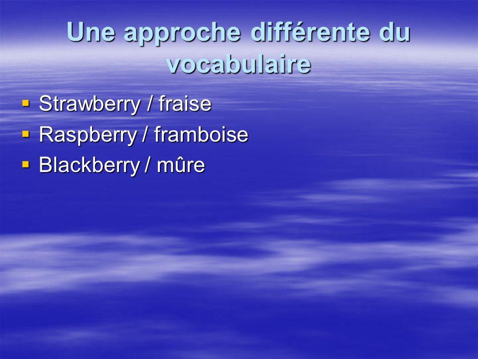Une approche différente du vocabulaire Strawberry / fraise Strawberry / fraise Raspberry / framboise Raspberry / framboise Blackberry / mûre Blackberry / mûre