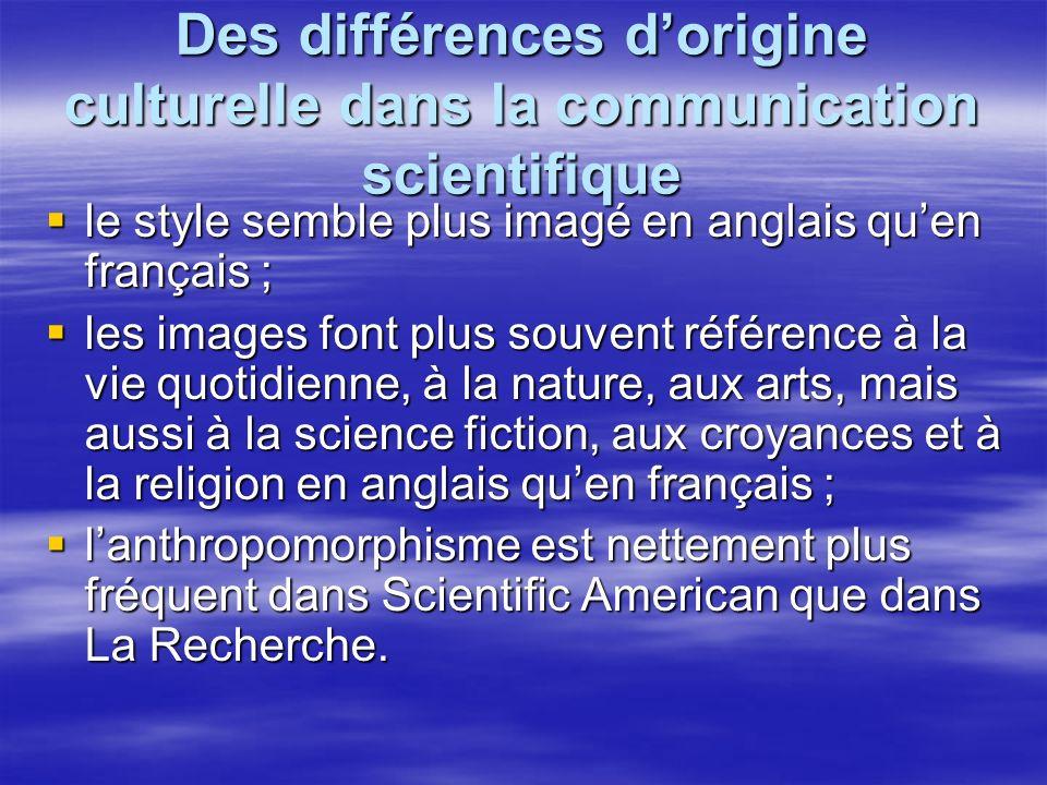 Des différences dorigine culturelle dans la communication scientifique le style semble plus imagé en anglais quen français ; le style semble plus imagé en anglais quen français ; les images font plus souvent référence à la vie quotidienne, à la nature, aux arts, mais aussi à la science fiction, aux croyances et à la religion en anglais quen français ; les images font plus souvent référence à la vie quotidienne, à la nature, aux arts, mais aussi à la science fiction, aux croyances et à la religion en anglais quen français ; lanthropomorphisme est nettement plus fréquent dans Scientific American que dans La Recherche.