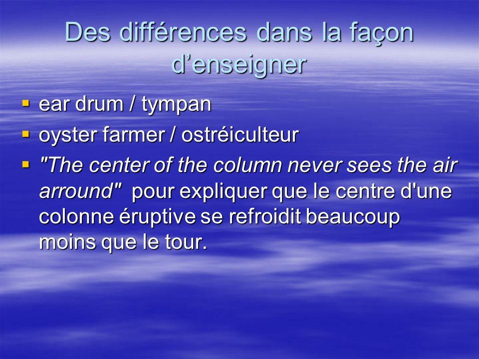 Des différences dans la façon denseigner ear drum / tympan ear drum / tympan oyster farmer / ostréiculteur oyster farmer / ostréiculteur The center of the column never sees the air arround pour expliquer que le centre d une colonne éruptive se refroidit beaucoup moins que le tour.