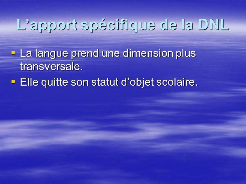 Lapport spécifique de la DNL La langue prend une dimension plus transversale. La langue prend une dimension plus transversale. Elle quitte son statut