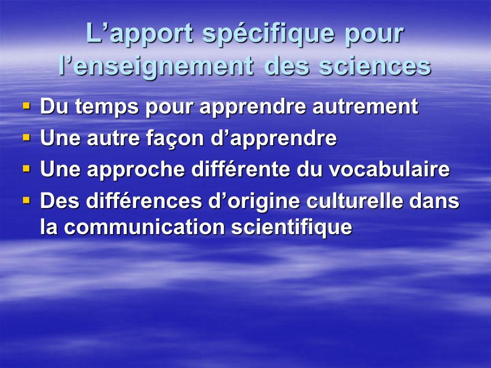 Lapport spécifique pour lenseignement des sciences Du temps pour apprendre autrement Du temps pour apprendre autrement Une autre façon dapprendre Une