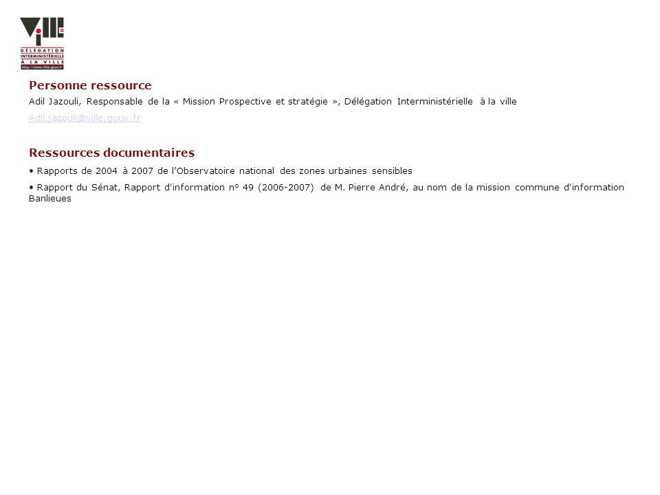 Adil Jazouli, Responsable de la « Mission Prospective et stratégie », Délégation Interministérielle à la ville Adil.jazouli@ville.gouv.fr Ressources d
