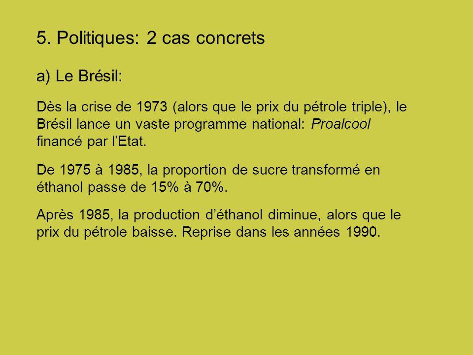 5. Politiques: 2 cas concrets a) Le Brésil: Dès la crise de 1973 (alors que le prix du pétrole triple), le Brésil lance un vaste programme national: P