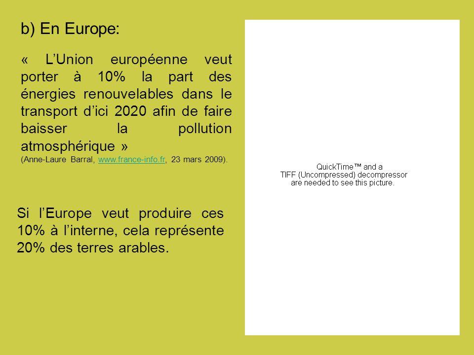 b) En Europe: « LUnion européenne veut porter à 10% la part des énergies renouvelables dans le transport dici 2020 afin de faire baisser la pollution atmosphérique » (Anne-Laure Barral, www.france-info.fr, 23 mars 2009).www.france-info.fr Si lEurope veut produire ces 10% à linterne, cela représente 20% des terres arables.