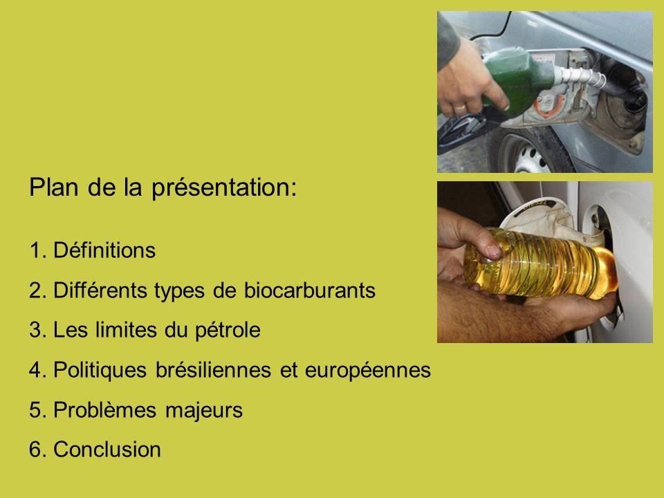 Plan de la présentation: 1.Définitions 2. Différents types de biocarburants 3.