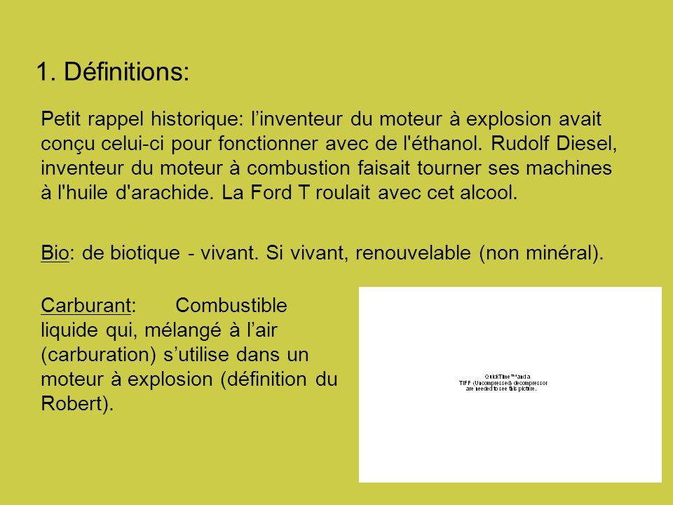 1. Définitions: Petit rappel historique: linventeur du moteur à explosion avait conçu celui-ci pour fonctionner avec de l'éthanol. Rudolf Diesel, inve