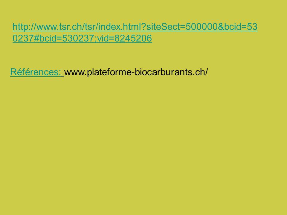 http://www.tsr.ch/tsr/index.html?siteSect=500000&bcid=53 0237#bcid=530237;vid=8245206 Références:Références: www.plateforme-biocarburants.ch/