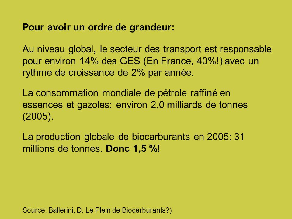 Pour avoir un ordre de grandeur: Au niveau global, le secteur des transport est responsable pour environ 14% des GES (En France, 40%!) avec un rythme de croissance de 2% par année.