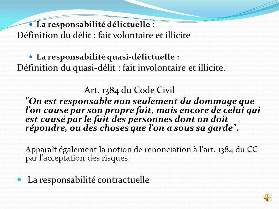 La responsabilité délictuelle : Définition du délit : fait volontaire et illicite La responsabilité quasi-délictuelle : Définition du quasi-délit : fait involontaire et illicite.