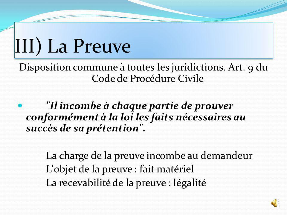 III) La Preuve Disposition commune à toutes les juridictions.