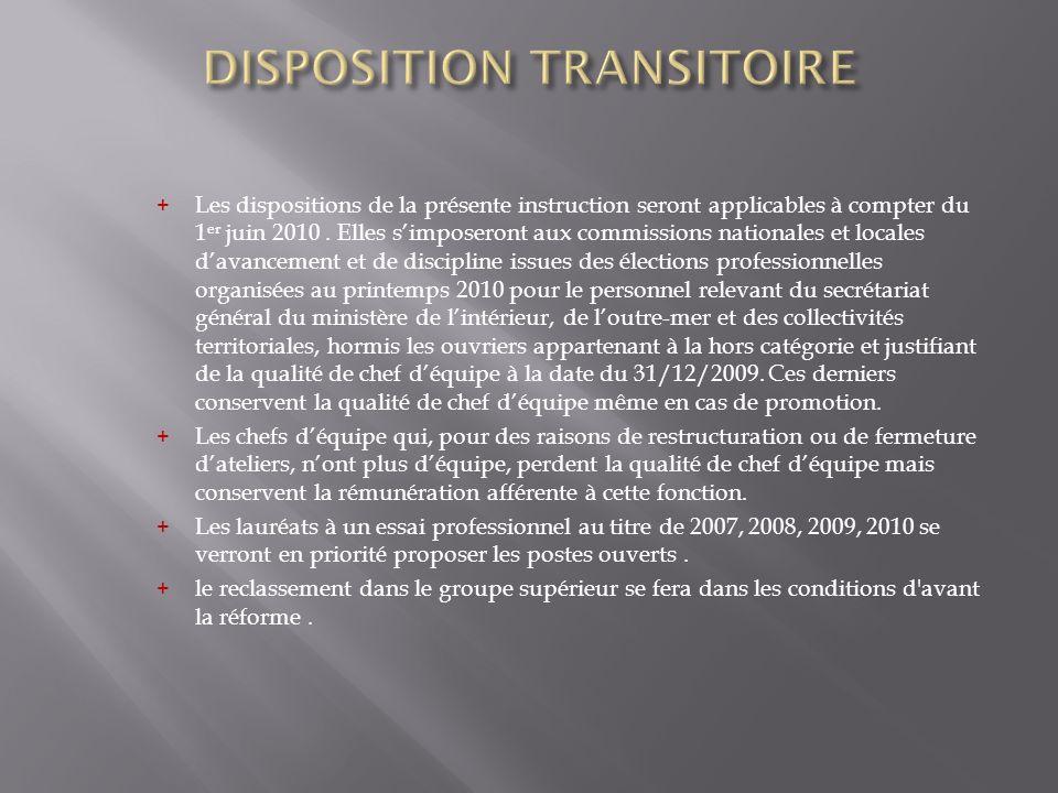 + Les dispositions de la présente instruction seront applicables à compter du 1 er juin 2010. Elles simposeront aux commissions nationales et locales