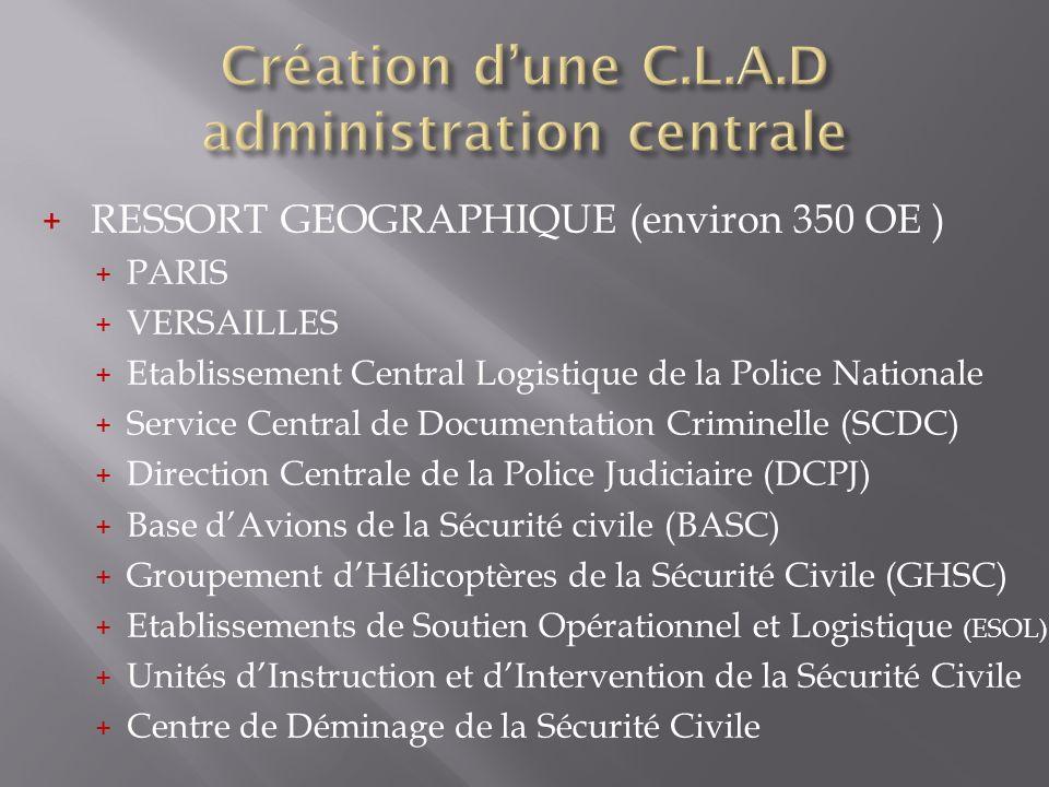 + RESSORT GEOGRAPHIQUE (environ 350 OE ) + PARIS + VERSAILLES + Etablissement Central Logistique de la Police Nationale + Service Central de Documenta