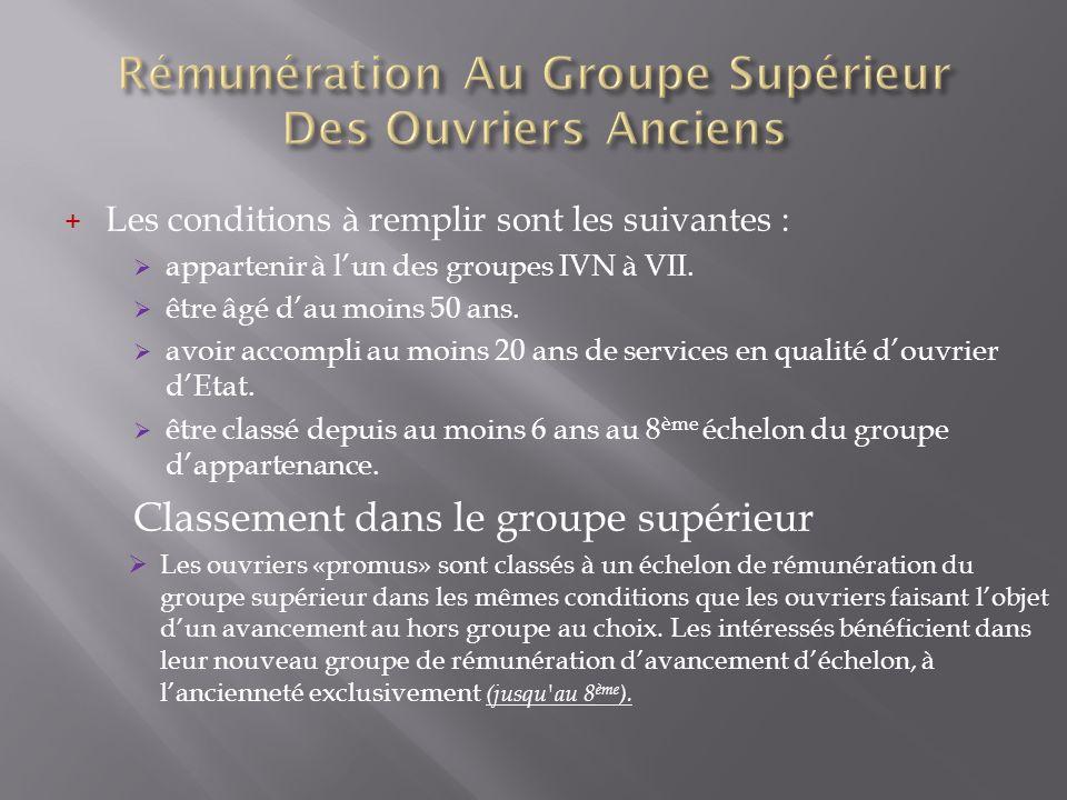 + Les conditions à remplir sont les suivantes : appartenir à lun des groupes IVN à VII. être âgé dau moins 50 ans. avoir accompli au moins 20 ans de s